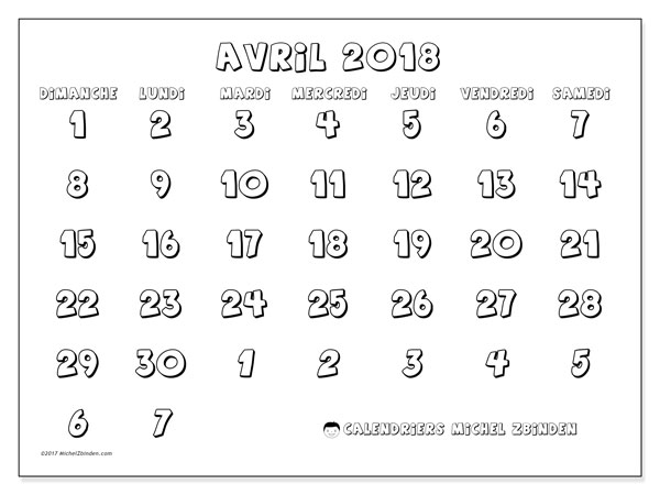 Calendrier avril 2018 (71DS).