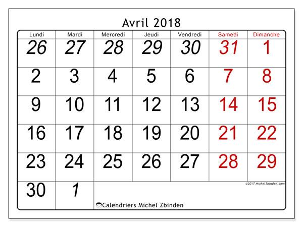 Calendrier avril 2018 (72LD). Organisateur à imprimer gratuit.