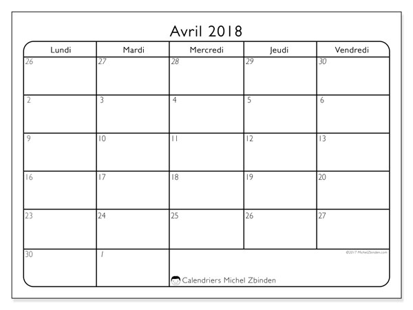 Calendrier avril 2018 (74DS).