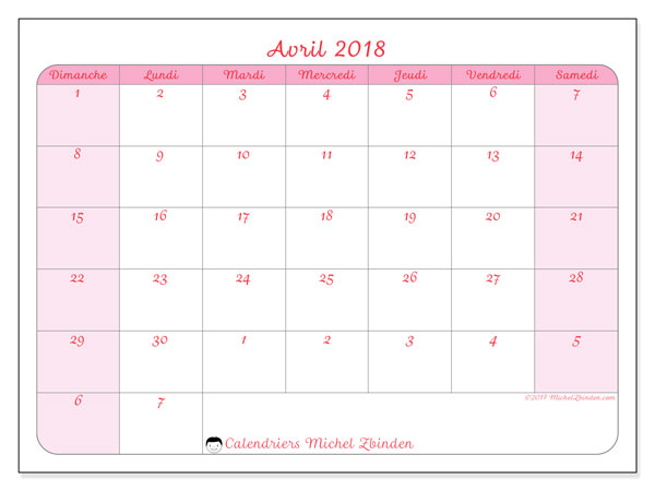 Calendrier avril 2018 (76DS).