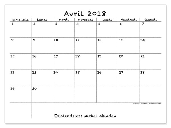 Calendrier avril 2018 (77DS).