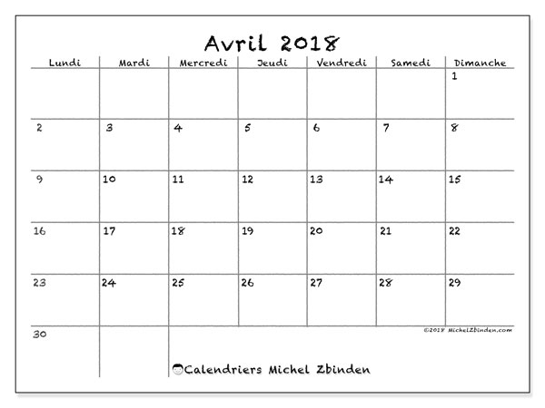 Calendrier avril 2018 (77LD). Planificateur à imprimer gratuit.