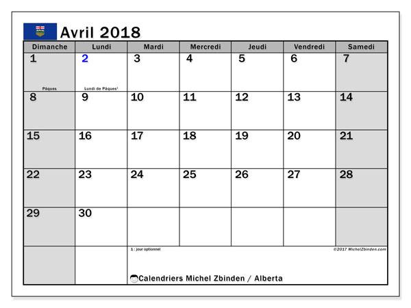 Calendrier avril 2018, avec les jours fériés de l'Alberta. Calendrier gratuit à imprimer.