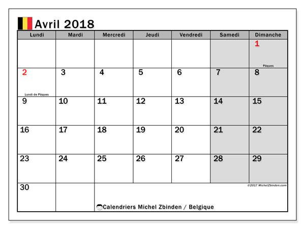 Calendrier avril 2018, avec les jours fériés de la Belgique. Organisateur à imprimer gratuit.