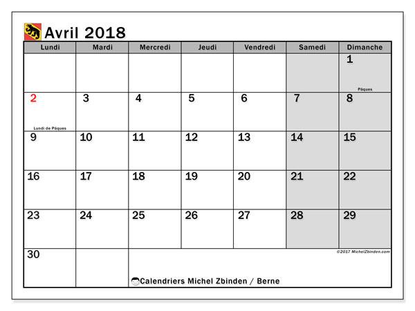 Calendrier à imprimer gratuit avril 2018, avec les jours fériés du Canton de Berne