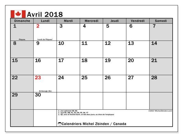 Calendrier avril 2018, avec les jours fériés du Canada. Calendrier mensuel à imprimer gratuit.