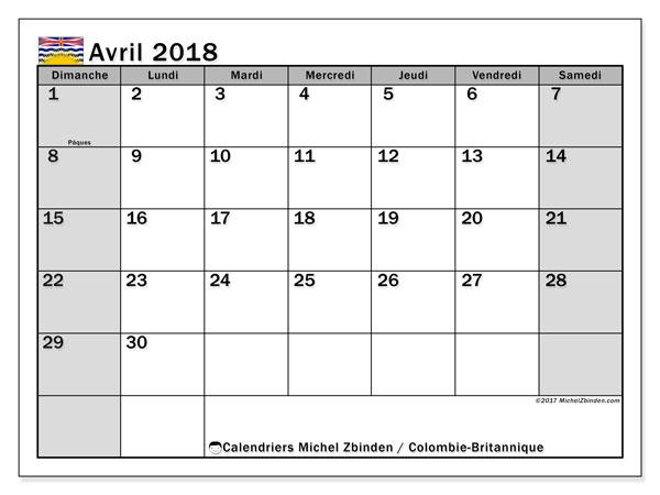 Calendrier avril 2018, avec les jours fériés de la Colombie-Britannique. Calendrier gratuit à imprimer.