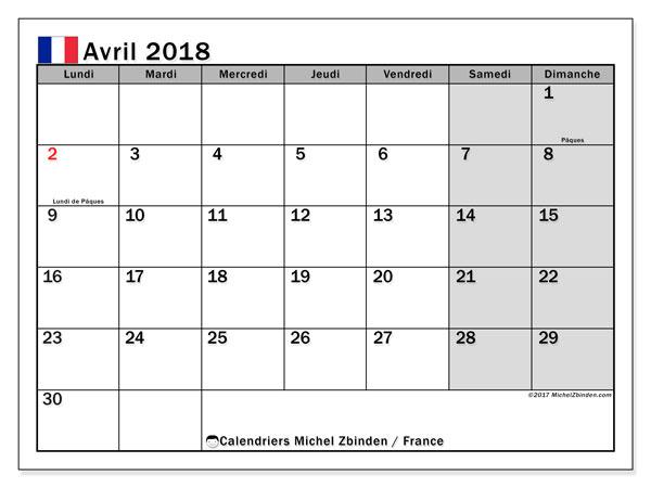 Calendrier avril 2018, avec les jours fériés de la France. Calendrier imprimable gratuit.