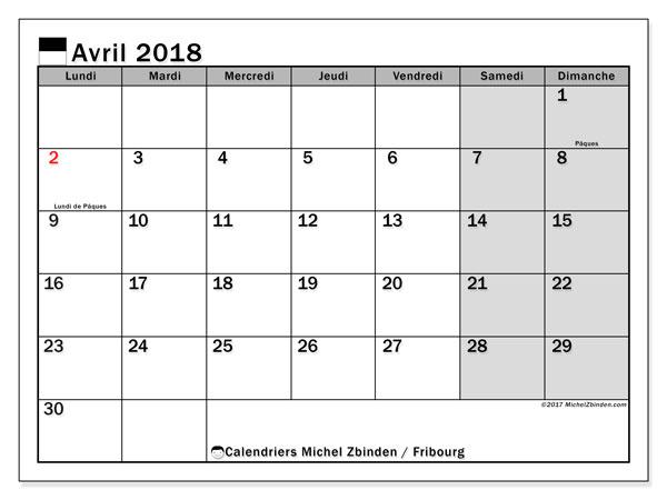 Calendrier à imprimer gratuit avril 2018, avec les jours fériés du Canton de Fribourg