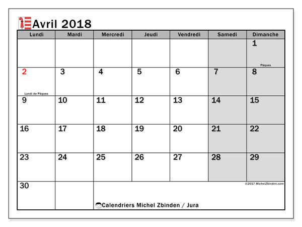 Calendrier avril 2018, avec les jours fériés du Canton du Jura. Calendrier gratuit à imprimer.