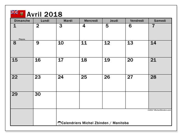 Calendrier avril 2018, avec les jours fériés du Manitoba. Calendrier gratuit à imprimer.