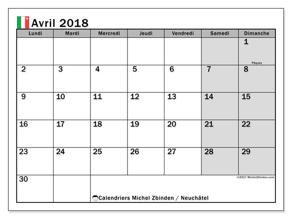 Calendrier avril 2018, avec les jours fériés du Canton de Neuchâtel. Calendrier gratuit à imprimer.