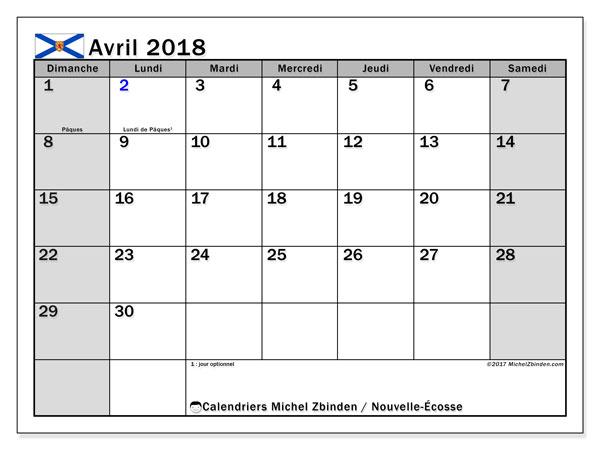 Calendrier avril 2018, avec les jours fériés de la Nouvelle-Écosse. Organisateur à imprimer gratuit.