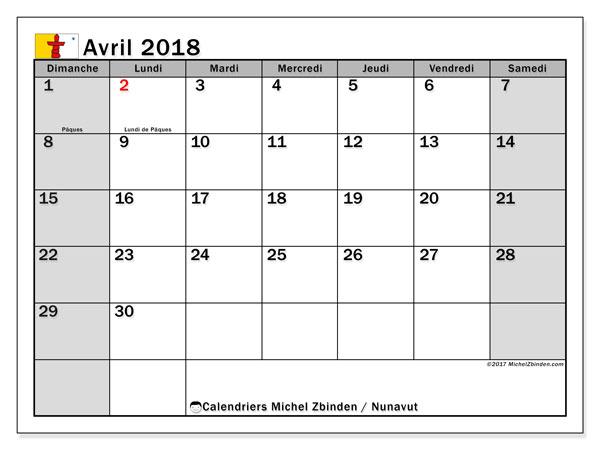 Calendrier avril 2018, avec les jours fériés du Nunavut. Calendrier mensuel à imprimer gratuit.