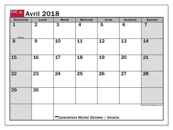 Calendrier avril 2018, avec les jours fériés de l'Ontario. Calendrier pour le mois à imprimer gratuit.