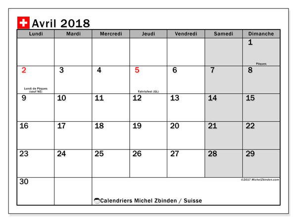 Calendrier avril 2018, avec les jours fériés de la Suisse. Calendrier à imprimer gratuit.