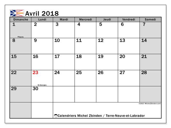 Calendrier avril 2018, avec les jours fériés de Terre-Neuve-et-Labrador. Organisateur à imprimer gratuit.