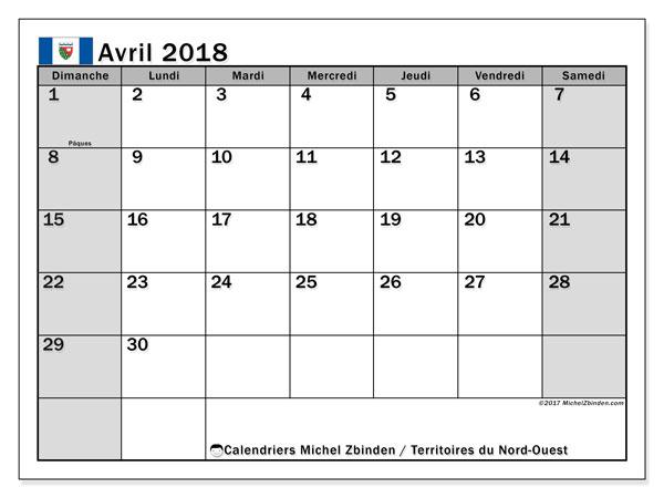 Calendrier avril 2018, avec les jours fériés des Territoires du Nord-Ouest. Calendrier à imprimer gratuit.
