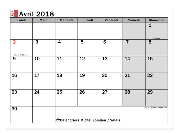 Calendrier avril 2018, avec les jours fériés du Canton du Valais. Calendrier mensuel à imprimer gratuit.