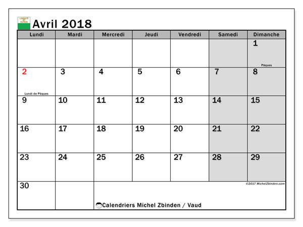 Calendrier avril 2018, avec les jours fériés du Canton de Vaud. Calendrier pour le mois à imprimer gratuit.