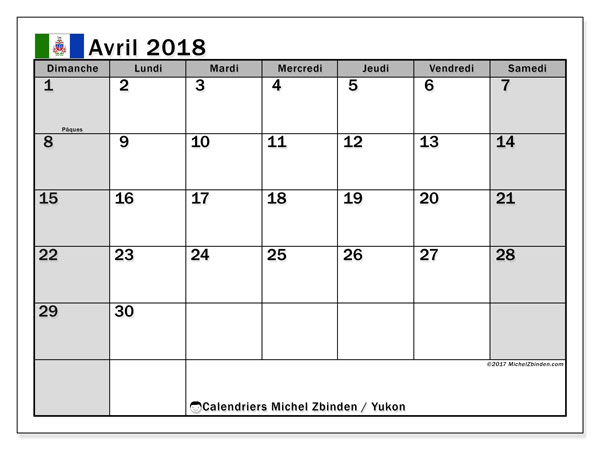 Calendrier avril 2018, avec les jours fériés du Yukon. Calendrier à imprimer gratuit.