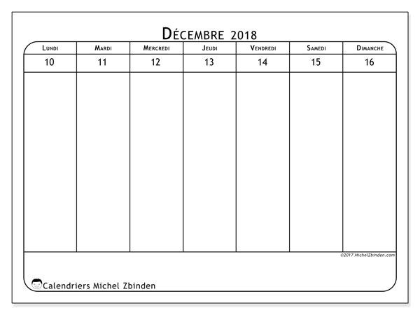 Calendrier décembre 2018 (43-3LD). Organisateur à imprimer gratuit.