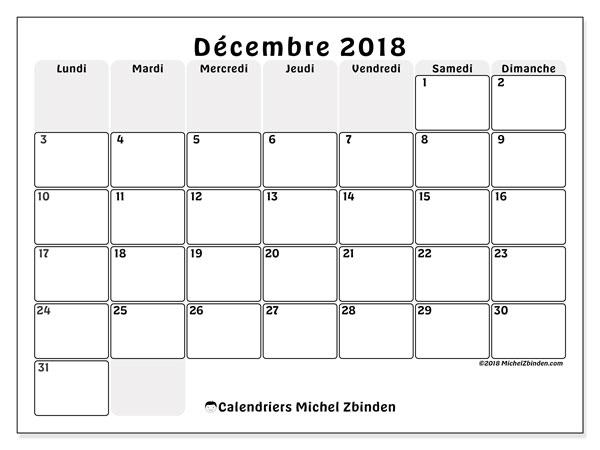 Calendrier décembre 2018 - 44LD. Calendrier à imprimer gratuit.