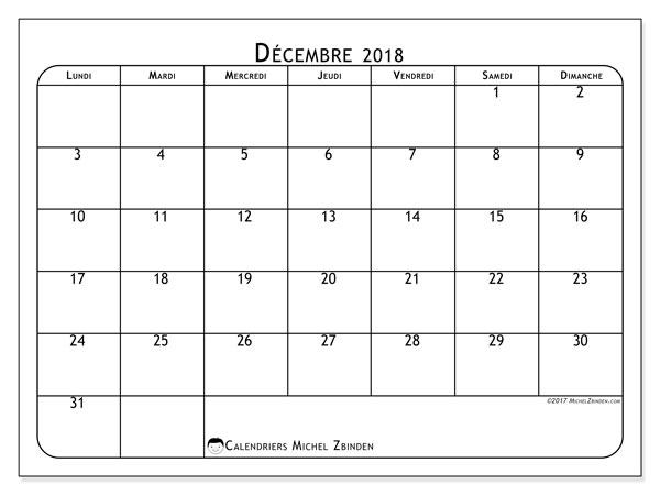 Calendrier décembre 2018 (51LD). Calendrier à imprimer gratuit.