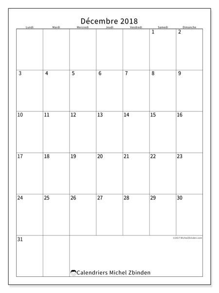 Calendrier décembre 2018 (52LD). Planificateur à imprimer gratuit.