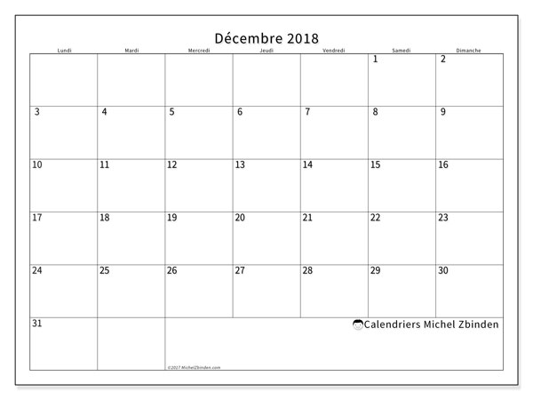 Calendrier décembre 2018 (53LD). Calendrier imprimable gratuit.