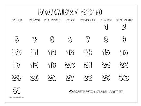 Calendrier décembre 2018 (56LD). Calendrier à imprimer gratuit.