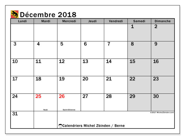 Calendrier décembre 2018, avec les jours fériés du Canton de Berne. Calendrier pour le mois à imprimer gratuit.