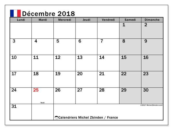 Calendrier décembre 2018, avec les jours fériés de la France. Planificateur à imprimer gratuit.