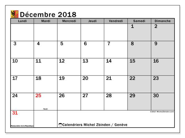 Calendrier décembre 2018, avec les jours fériés du Canton de Genève. Calendrier à imprimer gratuit.