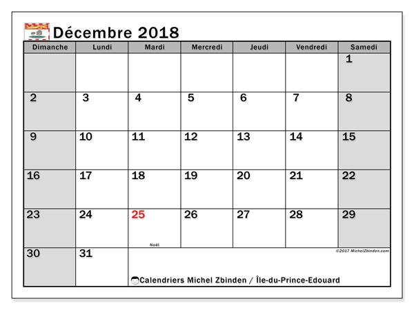 Calendrier décembre 2018, avec les jours fériés de l'Île-du-Prince-Edouard. Calendrier pour le mois à imprimer gratuit.
