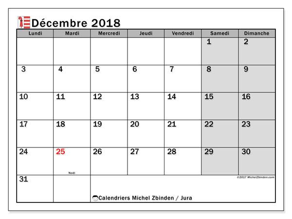 Calendrier décembre 2018, avec les jours fériés du Canton du Jura. Calendrier gratuit à imprimer.