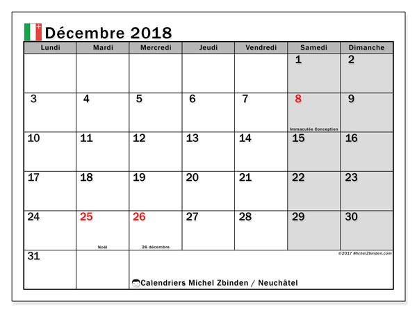 Calendrier décembre 2018, avec les jours fériés du Canton de Neuchâtel. Calendrier à imprimer gratuit.