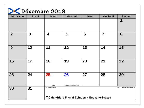Calendrier décembre 2018, avec les jours fériés de la Nouvelle-Écosse. Planificateur à imprimer gratuit.