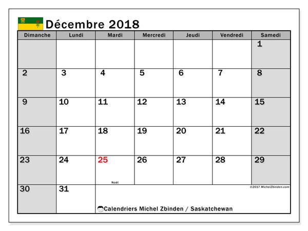 Calendrier décembre 2018, avec les jours fériés de la Saskatchewan. Calendrier pour le mois à imprimer gratuit.
