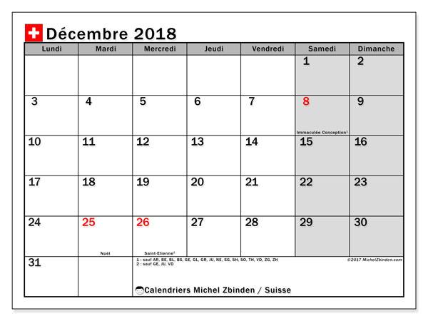 Calendrier décembre 2018, avec les jours fériés de la Suisse. Calendrier mensuel à imprimer gratuit.