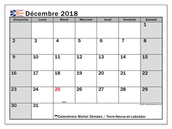 Calendrier décembre 2018, avec les jours fériés de Terre-Neuve-et-Labrador. Calendrier à imprimer gratuit.