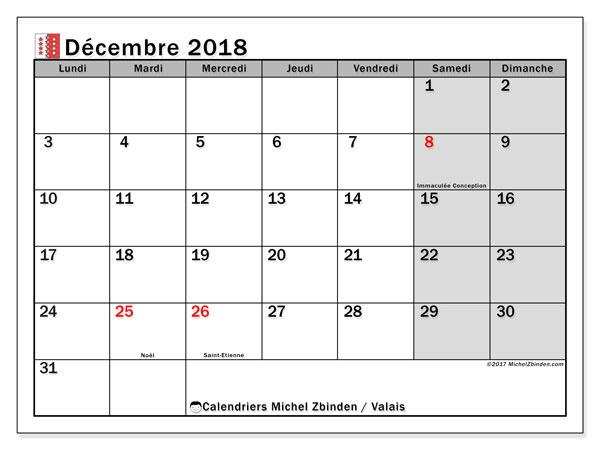 Calendrier décembre 2018, avec les jours fériés du Canton du Valais. Calendrier pour le mois à imprimer gratuit.