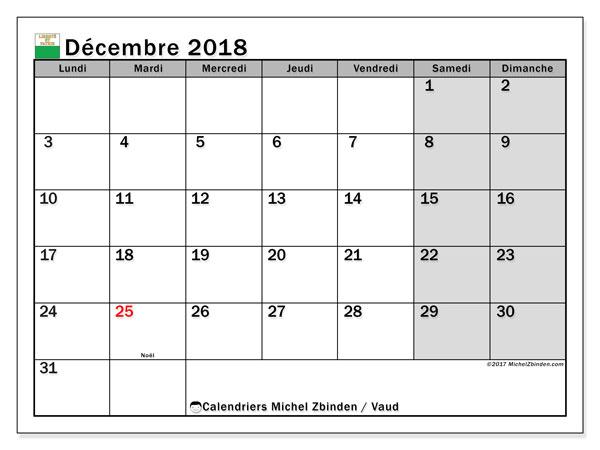 Calendrier décembre 2018, avec les jours fériés du Canton de Vaud. Calendrier à imprimer gratuit.