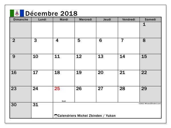 Calendrier décembre 2018, avec les jours fériés du Yukon. Organisateur à imprimer gratuit.