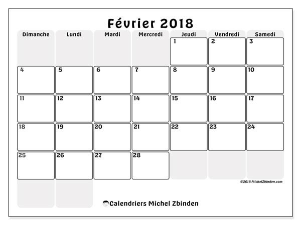 Calendrier  février 2018, 44DS