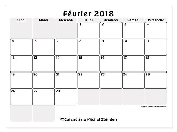 Calendrier février 2018 (44LD). Organisateur à imprimer gratuit.