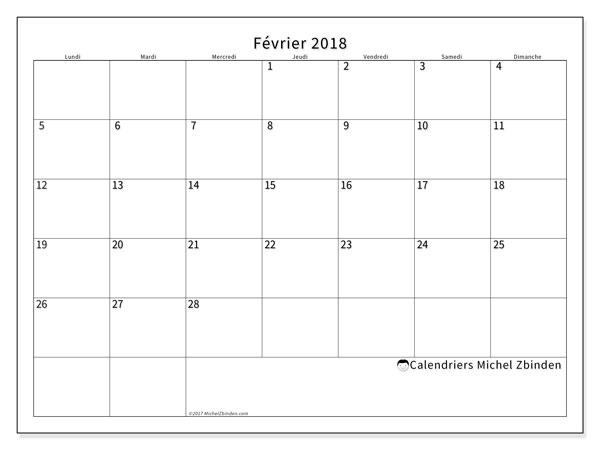Calendrier février 2018 - 53LD. Calendrier mensuel à imprimer gratuit.