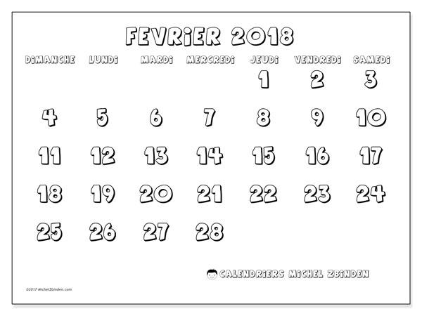 Calendrier février 2018 (56DS). Organisateur à imprimer gratuit.