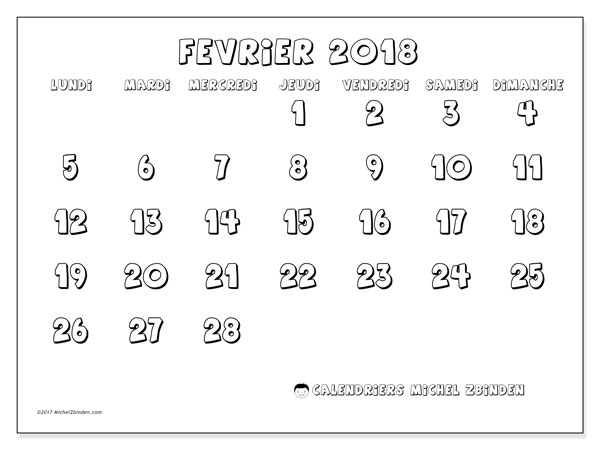 Calendrier février 2018 (56LD). Organisateur à imprimer gratuit.