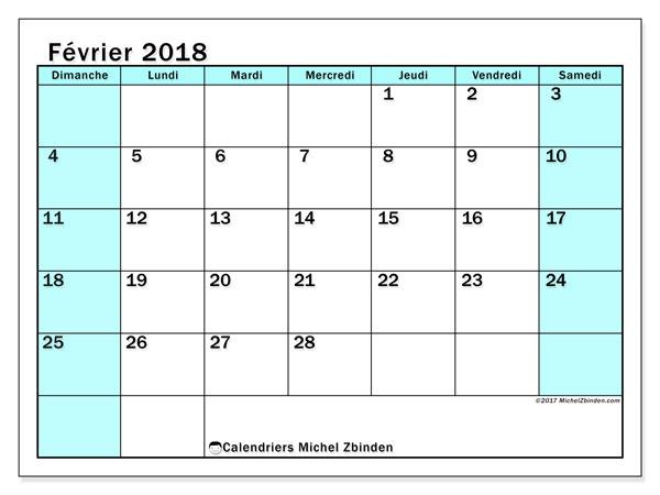 Calendrier février 2018 (59DS). Calendrier à imprimer gratuit.